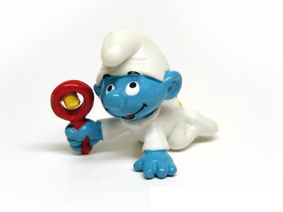 baby smurf with rattle white smurfs normal smurfs shelflife