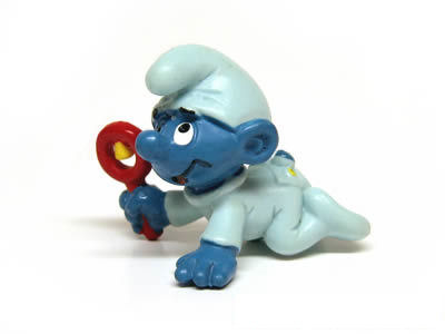 baby smurf with rattle blue smurfs normal smurfs shelflife
